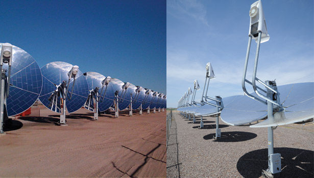 Dish-shaped dual-axis Stirling engine solar-tracking systems