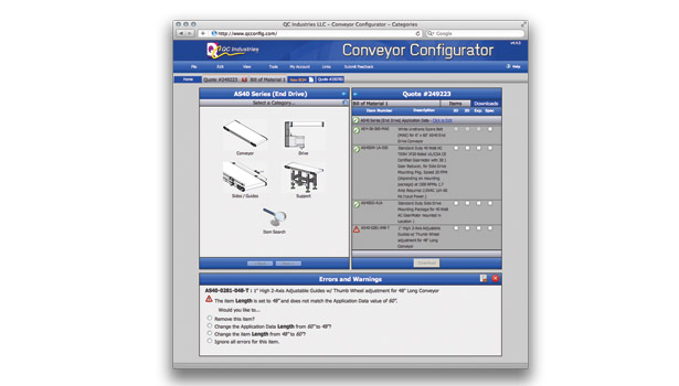 QC Industries' Conveyor Configurator
