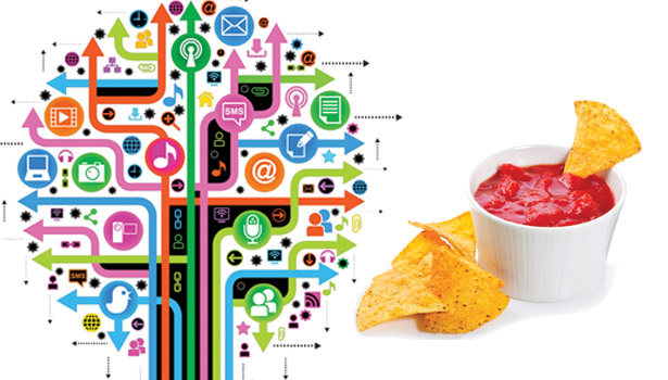 Social media tree and tortilla chips