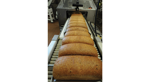 Bread coming down a conveyor
