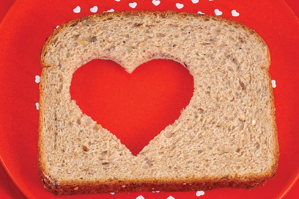 Bread with heart cut in it