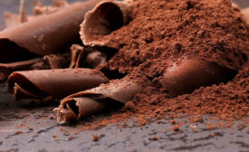 Cocoa powder and chocolate shavings