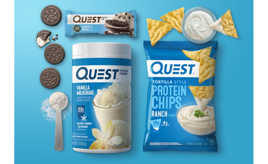 Quest Nutrition bars, chips, pizza