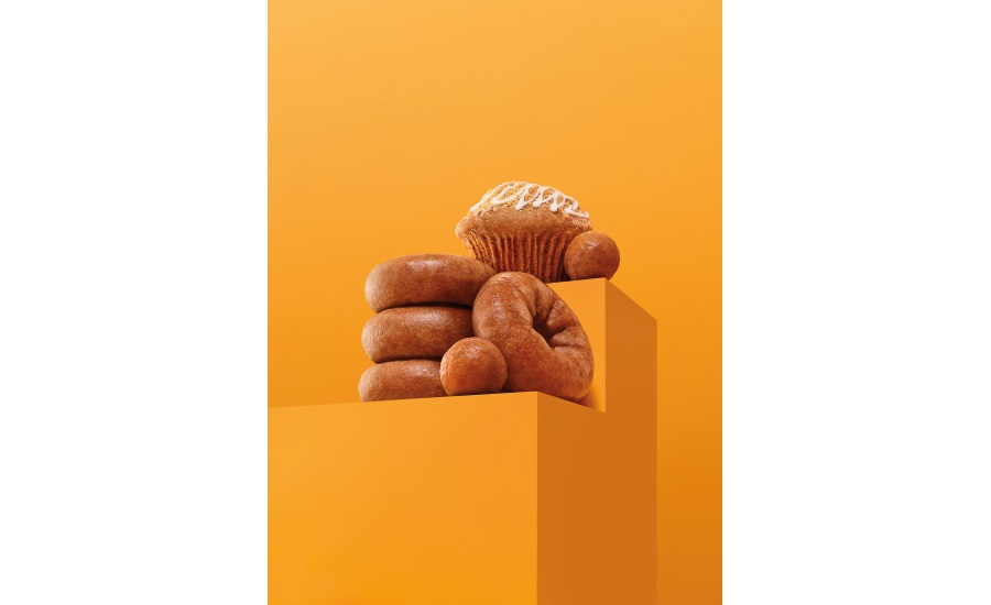 Dunkin' apple cider doughnut and MUNCHKINS, pumpkin doughnut, and pumpkin muffin