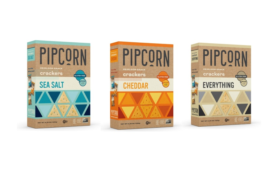 Pipcorn upcycled heirloom snack crackers