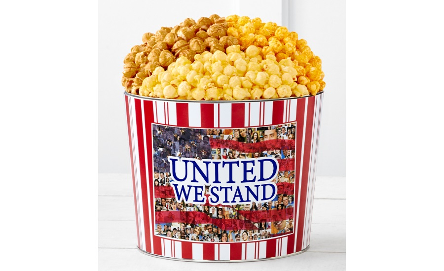 The Popcorn Factory Tins With Pop United We Stand, and Cards With Pop Stars and Stripes Forever