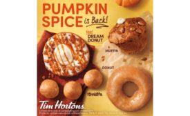 Tim Hortons pumpkin spice baked goods, doughnuts