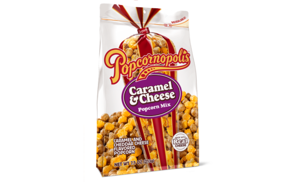Popcornopolis Double Drizzle, Caramel & Kettle, Triple Cheese, Honey Butter, and Caramel & Cheese popcorn