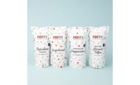 Poppy mid-century holiday tins and holiday market bags popcorn