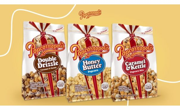Popcornopolis ready-to-eat popcorn, now in resealable pouches
