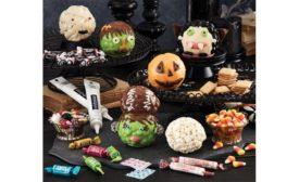 The Popcorn Factory Halloween Popcorn Ball Decorating Kit and Moonlit Manor Popcorn Tins
