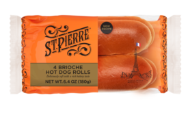 St Pierre Brioche Hot Dog Rolls, now available in a 4-pack