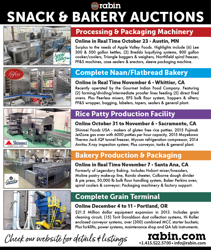 Multiple Public Auctions for Food Processing, Baking and Packaging Equipment