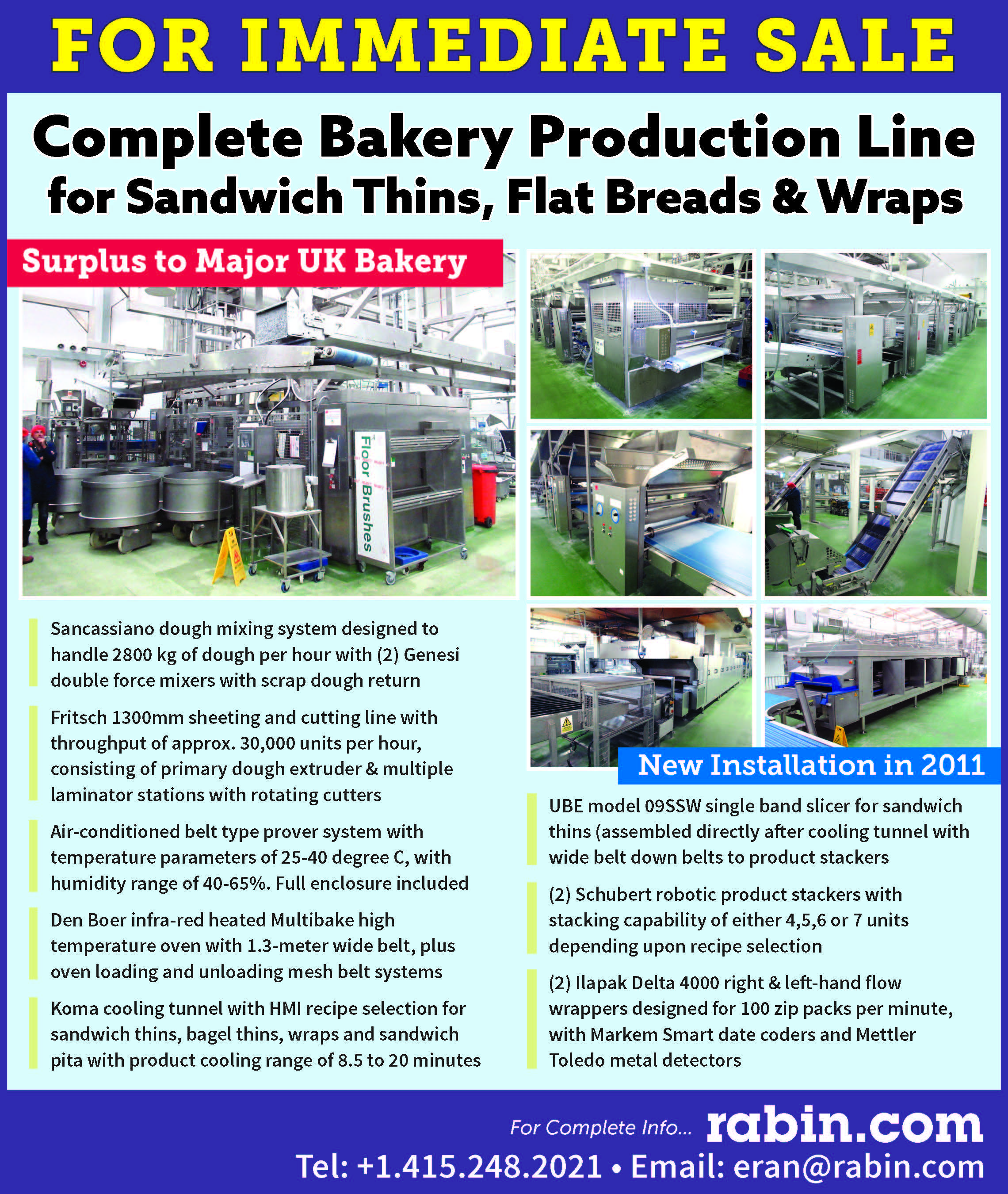 Complete Bakery Production Line for Sandwich Thins, Flat Breads & Wraps