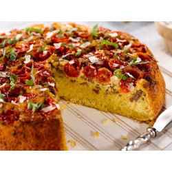 Sweet Yellow Cornbread, Sausage and Tomato Pie with Garlic Cream