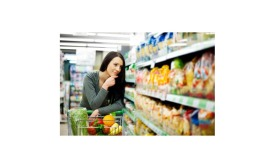 Woman in grocery aisle