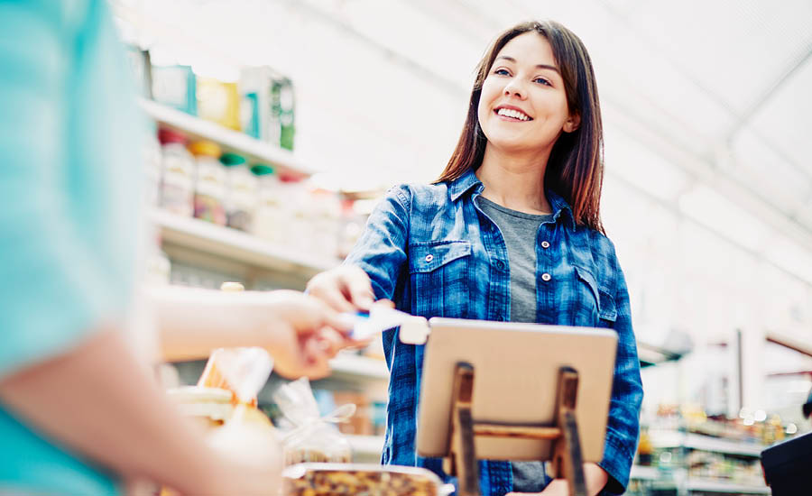 cashier grocery woman stock image