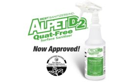 Best Sanitizers, Inc. Announces Alpet D2 Quat-Free Surface Sanitizer is Now Approved Under the Washington State Department of Agriculture Organic Food Program